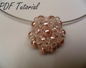 Eva Beading tutorial Beaded pendant Beading pattern Beadweaving Right angle weave Pearl crystal pendant