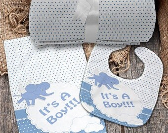 It's a Boy Piece Monogrammed Baby Set (Blanket, Bib, Burp Cloth)