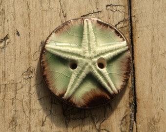 Handmade starfish ceramic button