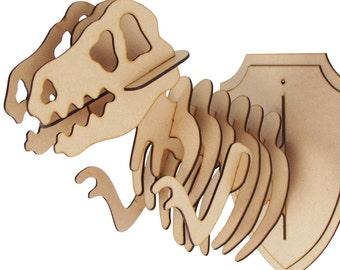 L/S Wooden T-Rex Animal Trophy Animal Head 3D - Jurassic World Dinosaur Wall Art Home Decor