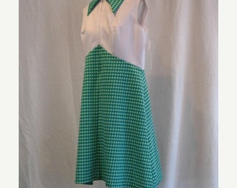 On Sale Vintage 1960's Sleeveless Day Dress in White and Blue Green Print
