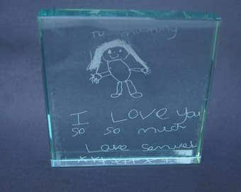 Jade glass block, personalised glass block, child's hand print, engraved glass block,gifts from children, childs fingerprint, childs message
