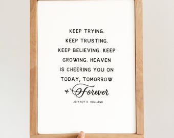 Heaven is cheering you on, framed wood sofn, light natural wood finish, Letters and Laurels, Christian art, LDS wood sign