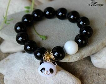 Black Agate Bracelet, 14mm Agate Bracelet, Black White Bracelet, Agate Wrist Mala, Panda Bracelet, Chakra Bracelet, Black Agate Wrist Mala