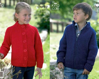 King Cole Knitting Pattern 3256~Two Raglan Cardigans~Chunky~22-32