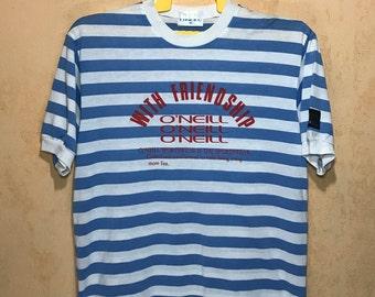80s 90s Vintage  O'neill Stripes Deck Marine T-shirt Medium Size