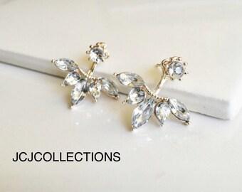 Rose Gold Crystal Earrings, Leave Earrings, Simple