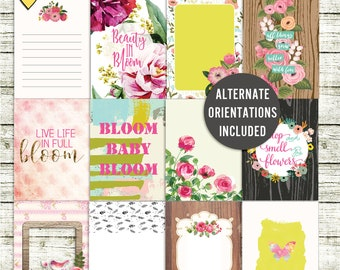 SUMMER SALE - Bloom - Journal Cards - Instant Download - Printable journaling cards for Project Life and digital scrapbooking