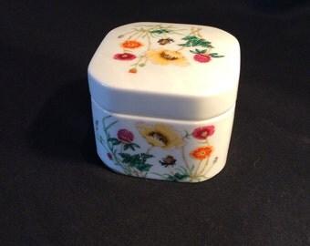 Takahashi San Francisco Jewelry storage- Trinket Box-Flowered -Hand Decorated