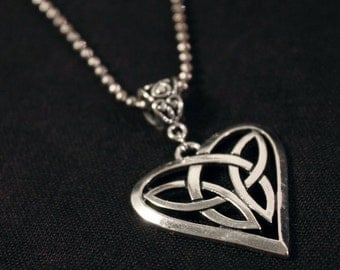 Necklace chain-ball with Celtic knot heart pendant in silver