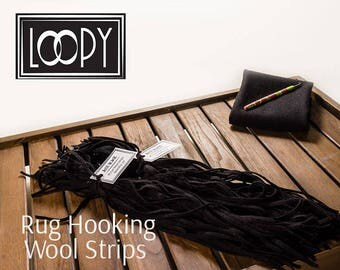 Rug Hooking Wool Strips Black (Just Black), wool (50 Strips)