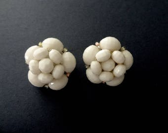 """Vintage White Clip Earrings Faceted White Cluster Plastic Bead Earrings Signed """"Made in Western Germany"""" 1950s"""