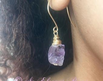 Purple amethyst gemstone dangle drop earrings