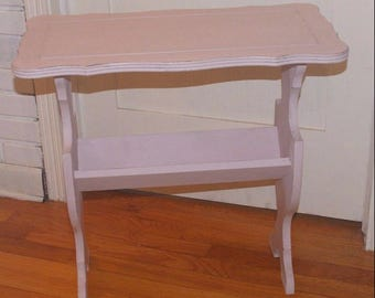 """Vintage Magazine End Two Tier Table - Annie Sloan Pink Chalk Paint - 23"""" High"""