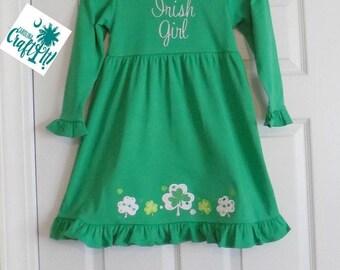 Girls St. Patricks Day Dress,Toddlers St. Patricks Day Dress, Toddler Green Dress, Girls Shamrock Dress, Girls Long Sleeve Dress, Appliqued