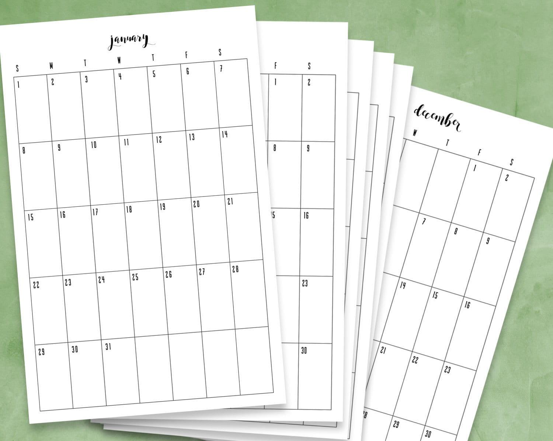 Calendar Vertical : Month printable calendar pdf vertical