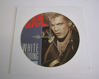 "Billy Idol ""Hot In The City"" - Special Unique Record Wall Clock Gift - Flesh For Fantasy White Wedding Rebel Yell Eyes With A Face Mony Mony"