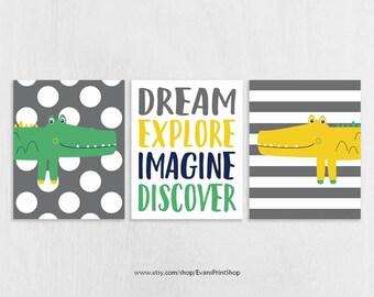 CANVAS Alligator Decor Set of 3 - Alligator Nursery Art - Alligator Wall Art - Playroom Decor - Dream, Explore, Imagine - Big Boy Room