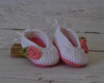 Crochet ballet slippers, crochet baby shoes, ballet shoes, baby ballet slippers, baby shoes, newborn shoes