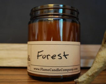 FOREST Natural Soy Candle 9oz Amber Glass Jar | Woodland | Calming | Aromatherapy | Man Candles | Gifts for Men | Masculine Gifts |