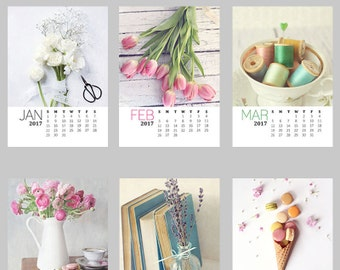 2017 Photo Desktop Calendar, Still Life Calendar, 5x7 Loose Page Desk Calendar, 12 Month Calendar, Holiday Gift, Still Life Photography