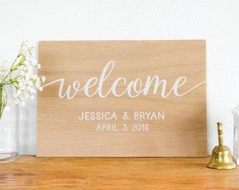 Welcome Wedding Sign - Personalized Wedding Sign - Wooden Sign- Rustic Wedding Decor - Wedding  Art- Boho Wedding