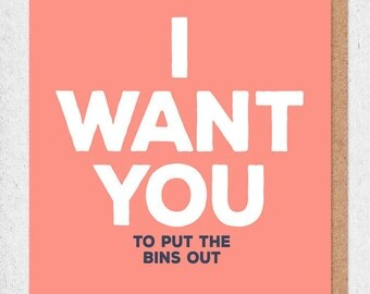 Funny Anniversary Card - I Want You (to put the bins out)  - funny cards - funny anniversary cards - paper plane - honest valentines