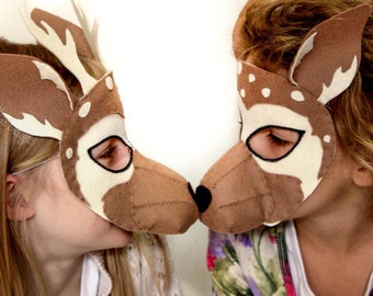 Felt Deer Mask PATTERN.  Instant Download sewing pattern PDF for felt reindeer mask kids costume.