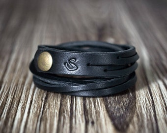 Black Chain Leather Bracelet - Women's bracelet - Men's bracelet - Black bracelet - Braid bracelet - Men's gift - Women' gift - Men's style