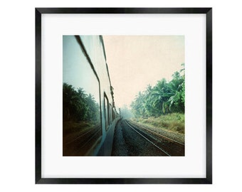 India rail print,  train mirrors exotic lush green tropical palm trees, travel photography, turquoise blue green, wall print, home decor