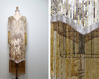 Silver & Gold Fringe Beaded Sequin Dress // Gatsby Wiggle Dress // Fringed Beaded Flapper Dress