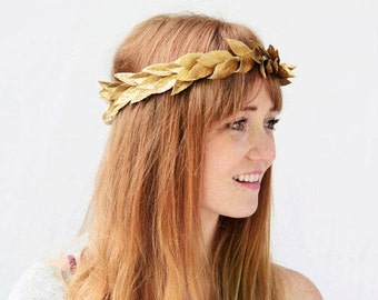 Gold Leaf Crown, Gold Leaf Headband, Laurel Wreath, Gold Crown, Bridal Headpiece, Gold Laurel Headpiece, Laurel, Leaf Circlet, Toga, Costume