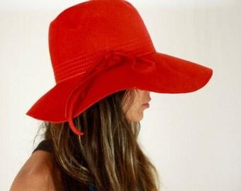 Vintage 60's Floppy hat // Vintage hat, vintage felt, vintage wool hat, burnt orange hat, wide brimmed hat, sun hat, floppy