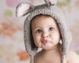 Baby Hat, Baby Bunny Hat, Newborn Bonnet, Bunny Hat, Newborn Photography Prop, Baby Photo, Easter Bonnet , Alpaca hat, Knit Bunny Rabbit hat
