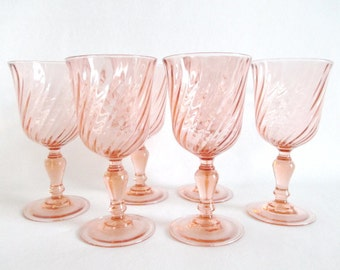 Rosaline Pink Swirl Water Goblets Set of 6 Arcoroc France Large Size Glasses Stemware