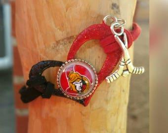 Ottowa Senators glitter heart bracelet with your choice of image