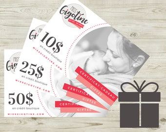 FRENCH - ELECTRONIC Gift Certificate