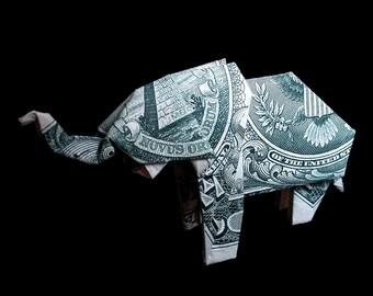 ELEPHANT Art Gift Figurine Money Origami Sculpture Handmade of Real One Dollar Bill Cash Wild Animal