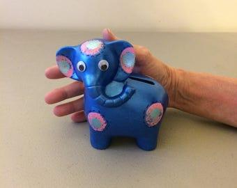 Blue Elephant Bank, Ceramic Bank, Small Elephant Bank, Child's Gift, Stocking Stuffer,