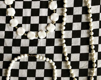 Bangin' Beaded Necklace Lot (3) - White Beads - 80s jewelry  - G