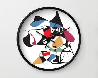 "Cubism Face, Wall Clock, Graphic Art Clock, Modern Wall Clock, Modern Clock, Minimal Graphic Art, 10"" Frame, Clock, Wall Decor, Home Decor"