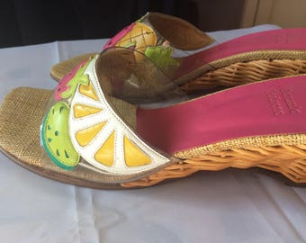 Tropical Sandals  - Tutti Frutti Wedge Slides -Boho Chic  Slides  - Summer Party Shoes - Hippie Boho Slides - UK 5 EU38 - Ibiza Summer Shoes
