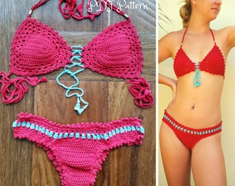 "Crochet Bikini Pattern, ""Cristal"" Crochet Bikini Top & Crochet Brazilian Bottom. Sizes XS-L"