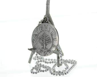 Pine Tree, 1652 Massachusetts Shilling Sterling Silver Necklace