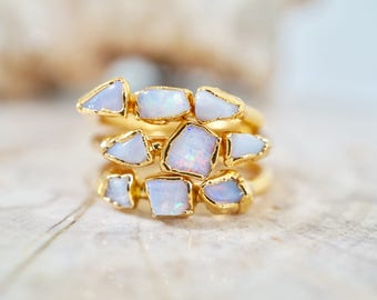 Opal Gold Ring / Raw Opal Ring / Gold Ring / Alternate Engagement Ring / Bridesmaids Gift / October Birthstone / Triple Stone Ring