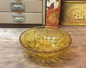 Vintage Amber Glass Bowl Dish Anchor Hocking Cut Glass