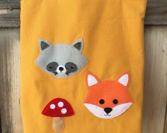 Forest Friends saffron-colored, lined tote bag