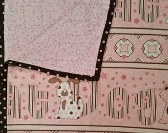 Handmade, pink, cat and dog print baby girl blanket