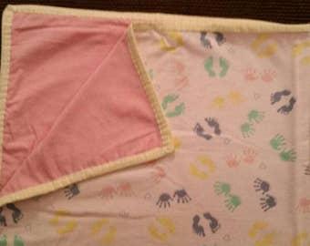 Handmade, baby girl, all flannel blanket