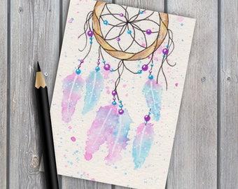 ACEO, dreamcatcher art #3, original watercolour, original painting, watercolor painting, miniature painting, tiny artwork, native american